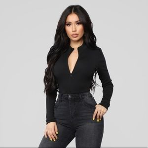 Fashion Nova grind time long sleeve zipup bodysuit
